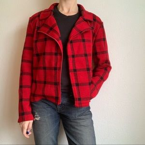 Luciano Dante red plaid zip up sweater jacket